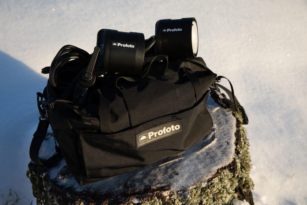 Fotograf bilder Profoto B2 blixtar och väska