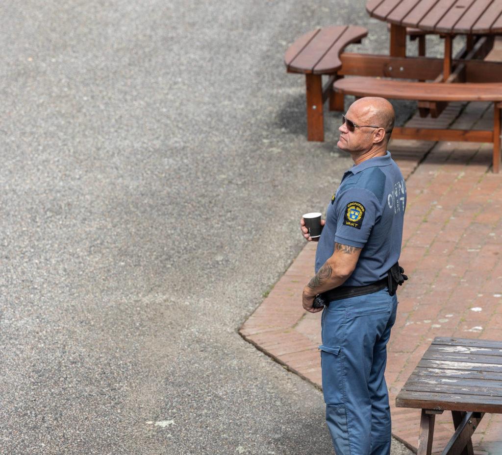 Säkerhetsvakt under student firande
